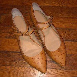Banana republic flats shoes double buckle mustard